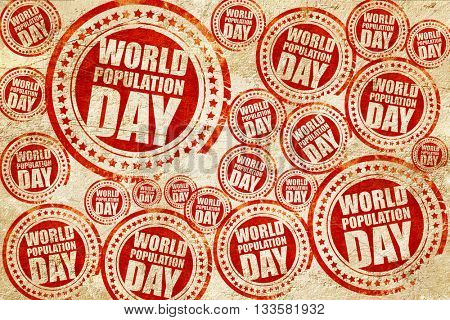 world population day, red stamp on a grunge paper texture