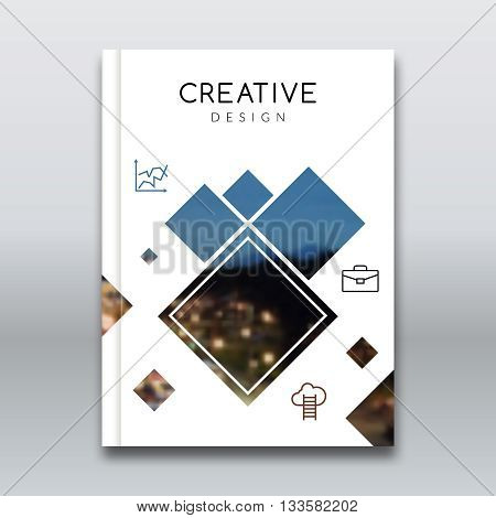 Cover report brochure colorful pilygonal geometric design background, cover flyer magazine, brochure book cover template layout with blurred background.