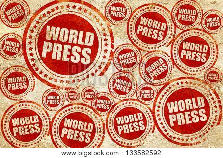world press, red stamp on a grunge paper texture