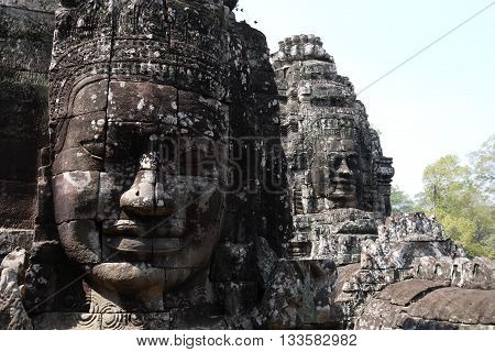 The faces of Bayon Temple, part of the Angkor Wat Temple Complex in Cambodia