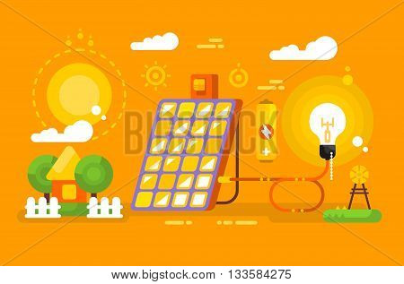 Solar battery design concept. Energy and environment, panel power for electricity, vector illustration