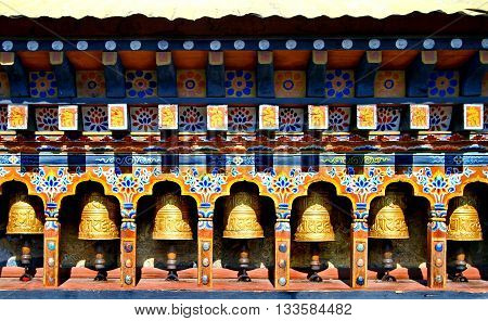 Bhutan Buddhism Prayer Wheels in Chimi Lhakhang temple