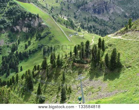 Panoramic mountain view of the Dolomites from Champinoi mountain Selva di Valgardena South Tyrol - Italy