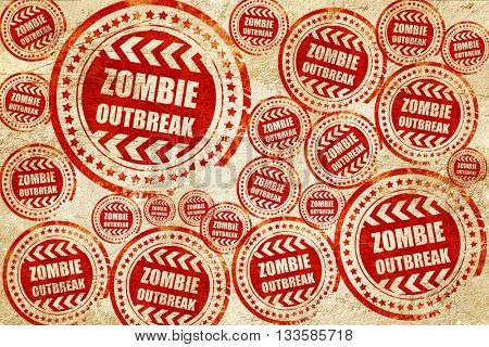 zombie virus concept background, red stamp on a grunge paper tex