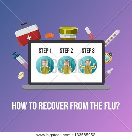 Flu symptoms poster with descriptions of step by step recovery from flu on purple background vector illustration