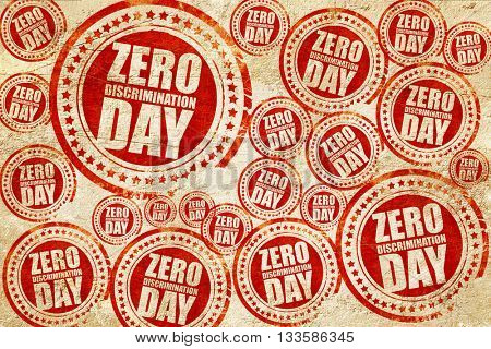 zero discrimination day, red stamp on a grunge paper texture