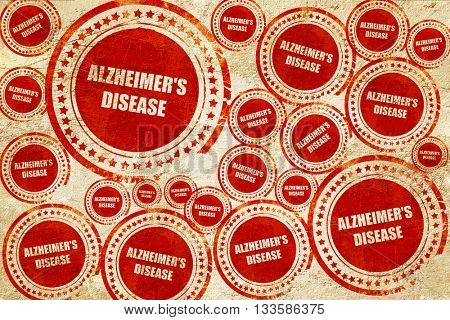Alzheimer's disease background, red stamp on a grunge paper text