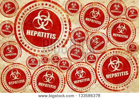 Hepatitis virus concept background, red stamp on a grunge paper