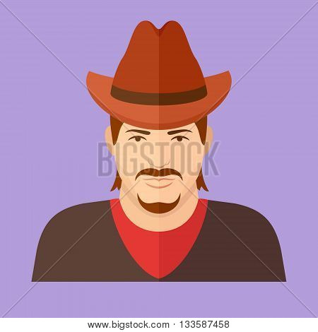 Cowboy character. Man face flat icon. Vector illustration.