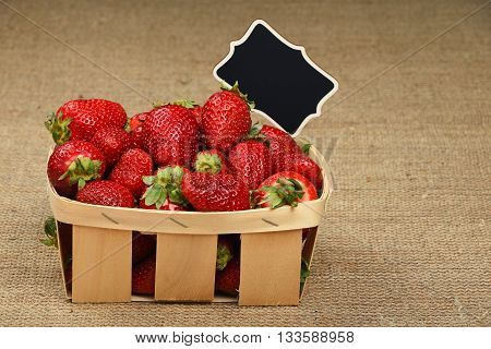 Strawberry In Basket With Price Sign On Canvas