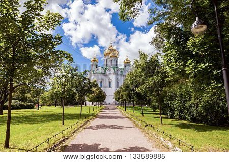 ST.PETERSBURG RUSSIA - AUGUST 4 2015: Orthodox Catherine's Cathedral in Pushkin town (Tsarskoye Selo) in summer sunny day