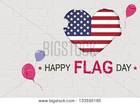Happy USA Flag day. American Heart symbol. Illustration in vector format