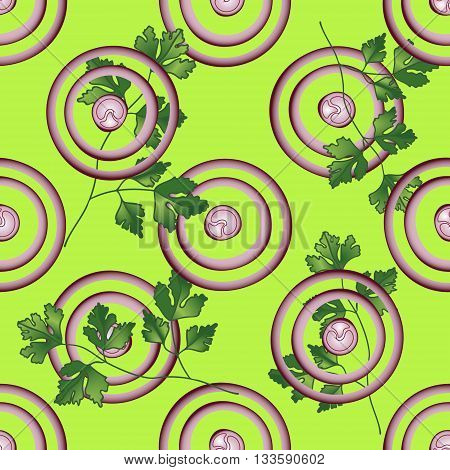 Onion, parsley vector seamless pattern. Vegetable vegetarian template. Slice purple onion with greenery salad bar template.