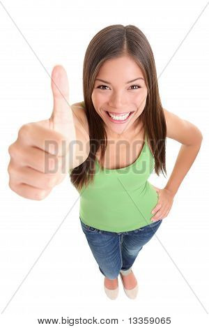 Isolated Success Thumbs Up Woman
