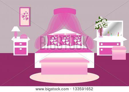 Bedroom interior in pink white color , bedroom design vector illustration