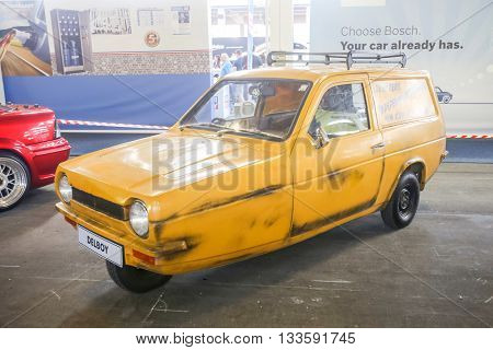 ZAGREB CROATIA - JUNE 4 2016 : An iconic Reliant Regal supervan oldtimer automobile exhibited at Fast and furious street race in Zagreb Croatia.