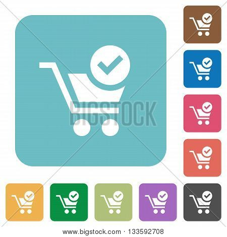 Flat cart checkout icons on rounded square color backgrounds.