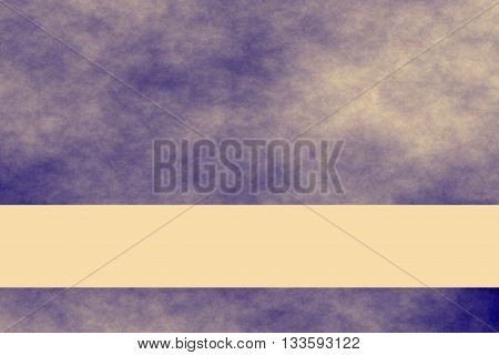 Dark blue and vanilla colored smoky background with vanilla colored banner