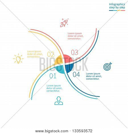Outline infographic element. Minimalistic chart, diagram with 4 steps, options. Vector design element.
