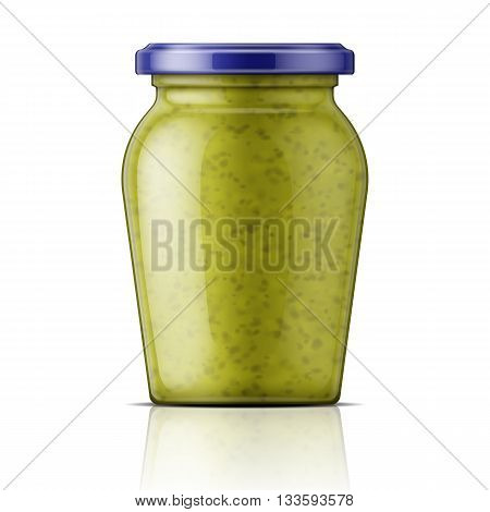 Glass jar with green pesto sauce. Vector illustration. Packaging collection.