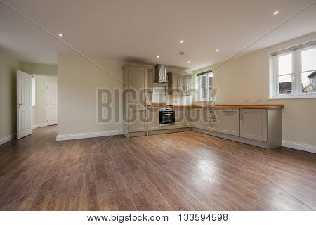 Open plan reception & kitchen with built in appliances within modern home