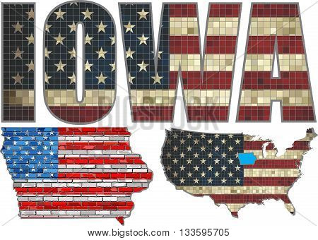 USA state of Iowa on a brick wall - Illustration, The flag of the state of Iowa on brick textured background,  Iowa Flag painted on brick wall, Font with the United States flag,  Iowa map on a brick wall