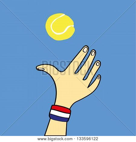 Hand with a red,white and blue sweat band on the wrist throwing a yellow tennis ball into the air ready for a serve
