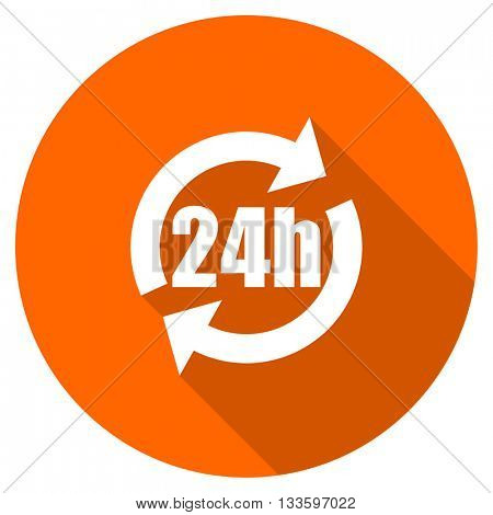 24h vector icon, circle flat design internet button, web and mobile app illustration