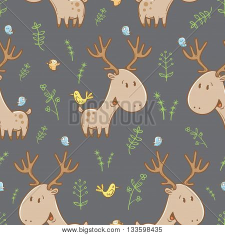 Seamless pattern with deer, birds and plants on  gray background. Funny forest animals. Vector image. Children's illustration.