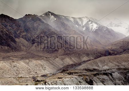 Himalaya mountains as seen when traveling by high mountain road in Leh Ladakh.India