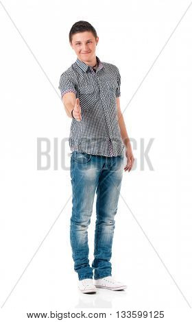 Young man shaking hands, full length isolated on white background
