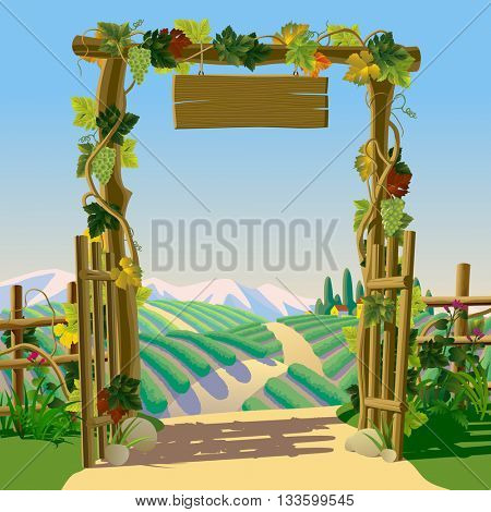 Old wooden farm gate with signboard, grapes and Mediterranean landscape with vineyards. Wine-making concept frame and background. Wine label design. Vector illustration