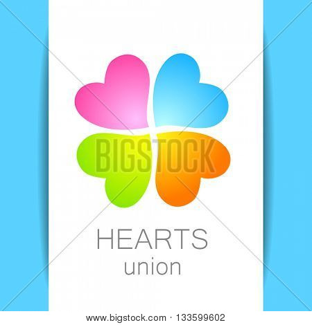 Heart union logo template. Quarterfoil of colored hearts. Idea for corporate, media, technology, style template vector logo design. Vector illustration.