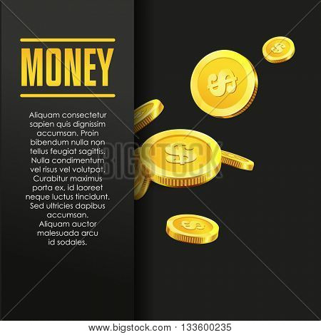 Money poster or banner design template with golden coins and copy space for text. Vector illustration. Money making. Bank deposit. Financial. Gold and black colors. Business finance vector background.