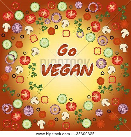 Go vegan template. Tomato, parsley, carrot, olives, mushroom, pepper cucumber vector card. Organic Vegetable vegetarian mix on the brown background for your restaurant design. EPS 10
