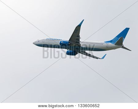 Moscow Region - June 4 2016: A large passenger plane Boeing 737-8LJ airlines victory takes off at Vnukovo airport in cloudy weather June 4 2016 Moscow Region Russia