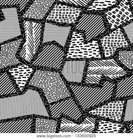 Geometry Retro Seamless Pattern In Black And White