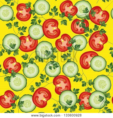 Tomato, parsley cucumber vector seamless pattern. Vegetable vegetarian template on the yellow background. Vegetable mix slice, salad bar template.