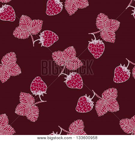 Simple seamless strawberry pattern. Template with delicious ripe strawberries on burgundy background. Vector.