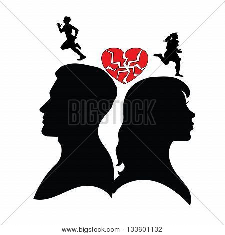 Psychology of relations. Silhouette of man and woman. Divorce , broken family and broken heart. Different interests.