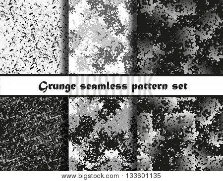 Grunge textures set. Background Collection. Vector illustration. Grunge seamless pattern set. EPS 10
