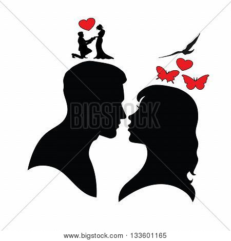Psychology of relations. Silhouette of man and woman. Happy. Offer to marry.