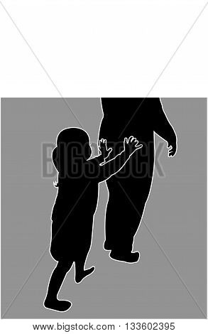a girl pushing her mom, black color silhouette vector