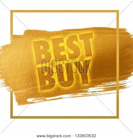 Best Buy gold word on white background