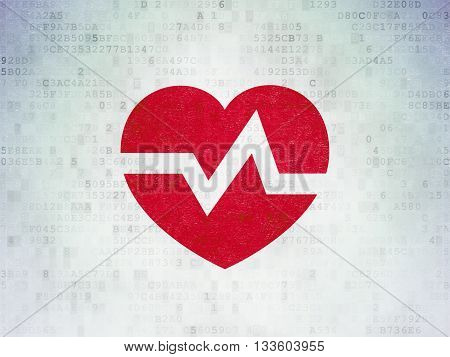 Medicine concept: Painted red Heart icon on Digital Data Paper background