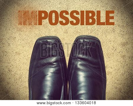 Black men shoes shoes with words impossible (possible)