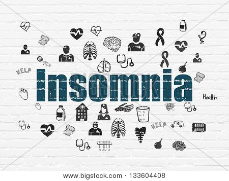 Health concept: Painted blue text Insomnia on White Brick wall background with  Hand Drawn Medicine Icons
