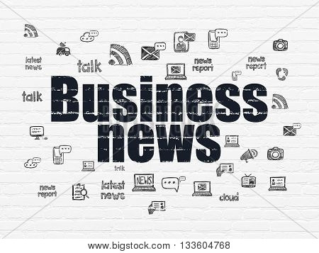 News concept: Painted black text Business News on White Brick wall background with  Hand Drawn News Icons
