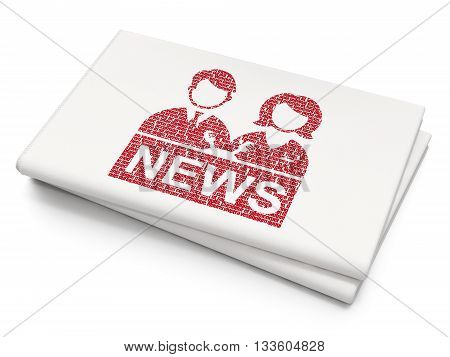 News concept: Pixelated red Anchorman icon on Blank Newspaper background, 3D rendering
