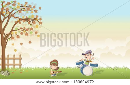 Green grass landscape with cute cartoon boy and girl playing music on a band. Acoustic guitar and drum.